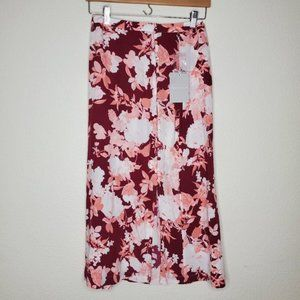 Chelsea 28 Pink Floral Button Up Midi Skirt